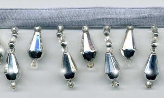 "Beaded Drop Fringe Trim - ""Metallic Silver"" yard(s) - Product Image"