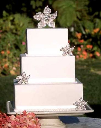 Set of Crystal Stylized Flowers Cake Topper Jewelry - Product Image