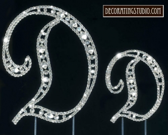 "Monogram Crystal Marquise Cut Cake Toppers  ""D"" - Product Image"