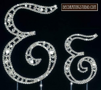 "Monogram Crystal Marquise Cut Cake Toppers  ""E"" - Product Image"