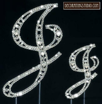 "Monogram Crystal Marquise Cut Cake Toppers ""J"" - Product Image"