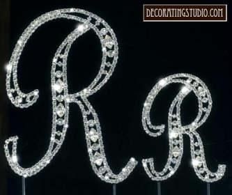 "Monogram Crystal Marquise Cut Cake Toppers ""R"" - Product Image"