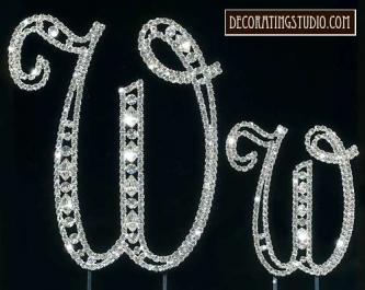 "Monogram Crystal Marquise Cut Cake Toppers  ""W"" - Product Image"