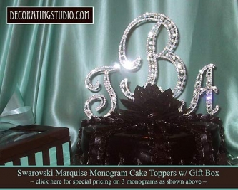 """""""Set of 3"""" (1 Large & 2 Small) Monogram Crystal Marquise Cut Cake Toppers - Product Image"""