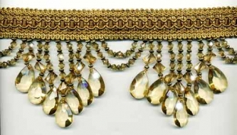 "Venice ""Pale Gold"" Beaded Fringe - sample - Product Image"
