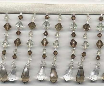 "Teardrops Beaded Fringe - ""Taupe & Clear"" yard(s) - Product Image"