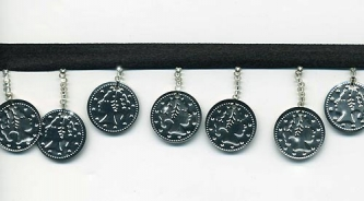 Silver Coins On Black - Yard(s) - Product Image