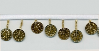 Gold Coins on White - Yard(s) - Product Image