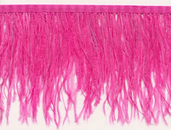 "Ostrich Feather Trim in ""Hot Pink"" - Yard(s) - Product Image"