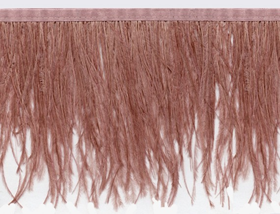 "Ostrich Feather Trim in ""Light Brown"" - Yard(s) - Product Image"