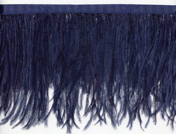 "Ostrich Feather Trim in ""Navy"" - Yard(s) - Product Image"