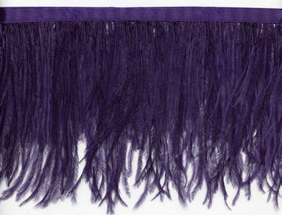"Ostrich Feather Trim in ""Purple"" - Yard(s) - Product Image"