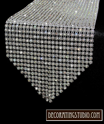 """Sample of Rhinestone Table Runner - Sample Size: 9"""" Long x 4 1/2"""" - Product Image"""