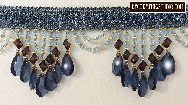 "Venice ""Deep Blue & Brown"" Beaded Fringe yard(s) - Product Image"
