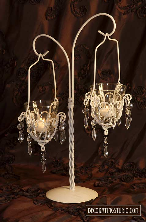 Ivory chandelier double votive centerpiece