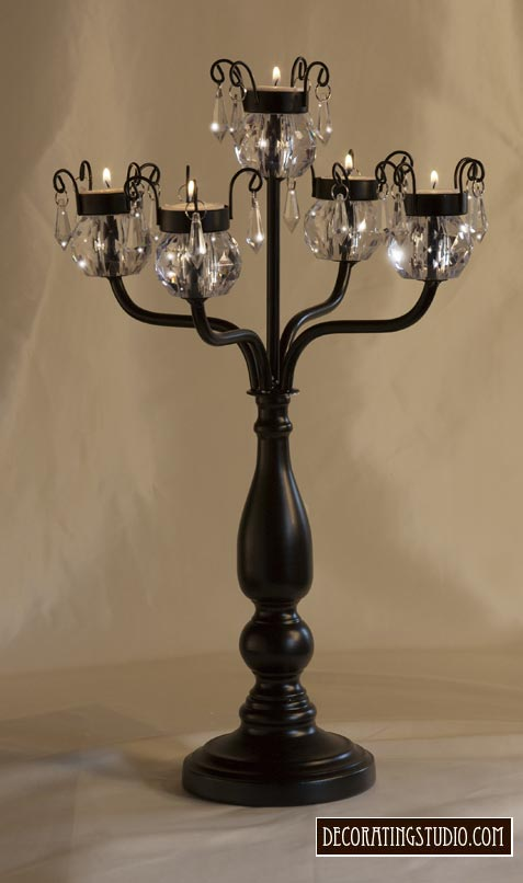 formal black crystal candelabra centerpiece