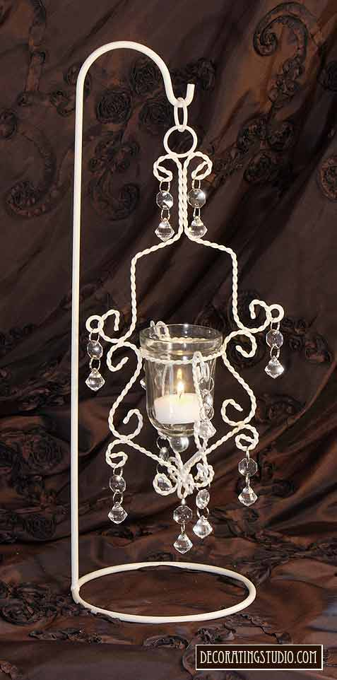 hanging chandelier votive centerpiece