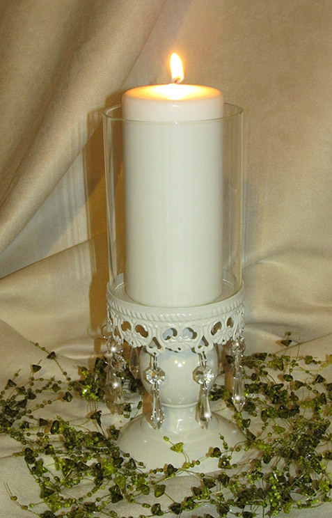 Ivory hurricane wedding candle