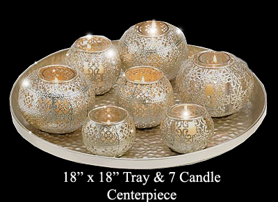 centerpice tray with votive candles
