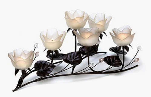 Lotus flower centerpiece candleholder