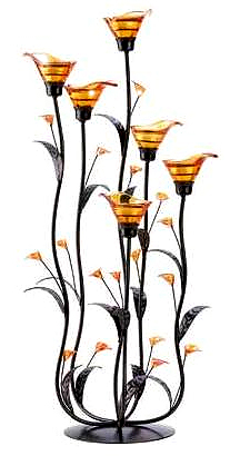 tall amber lily candle centerpiece