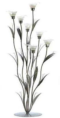 tall silver lily candle centerpiece