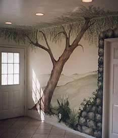 mural of tree on wall