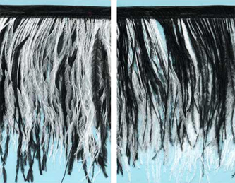 black and white 2 layer ostrich feather fringe