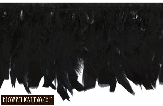 black chandelle long feather fringe trim