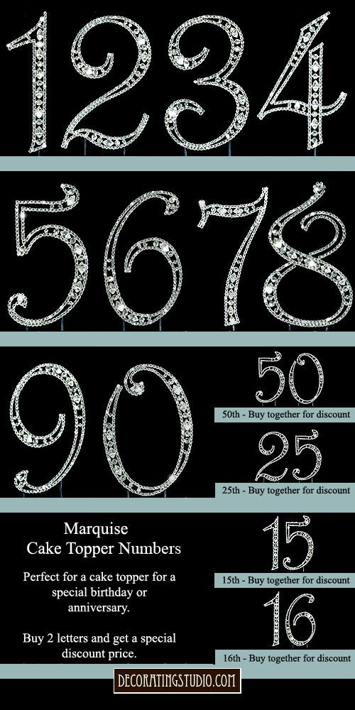 Rhinestone Cake Topper Numbers