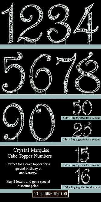 Cake Decor Numbers : Crystal Rhinestone Cake Topper Monogram Initials Numbers