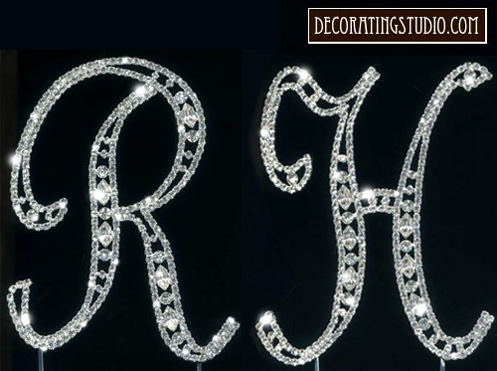 set of 2 crystal monogram cake toppers