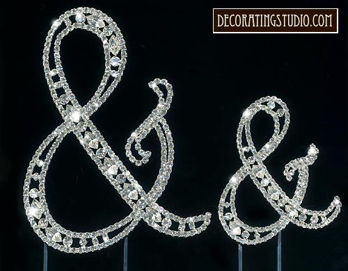 crystal wedding cake topper & and ampersand
