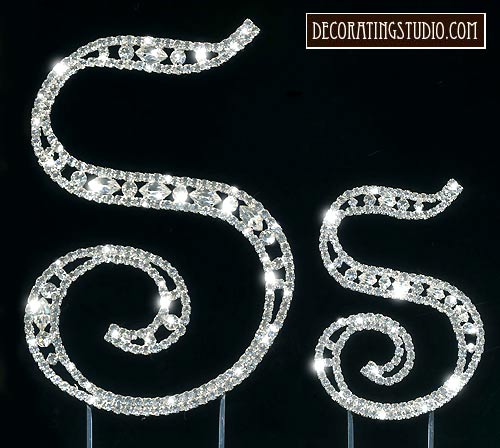 Monogram Cake Toppers Letter S : Crystal Marquise Cut Monogram Cake Topper Initial