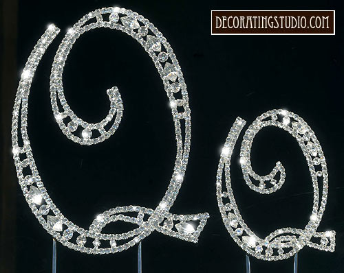 crystal monogram cake topper Q