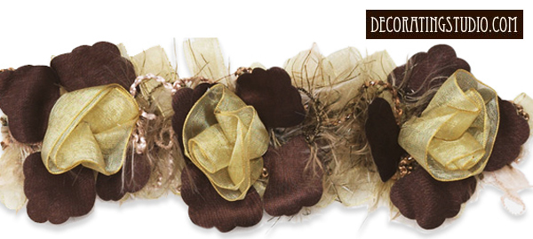 organza and chenille flower trim in Gold & Brown