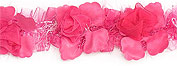fushcia organza and chenille flower trim