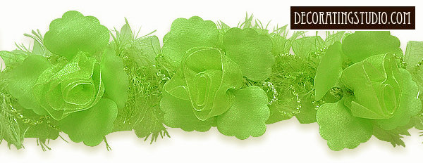 lime green organza flower trim