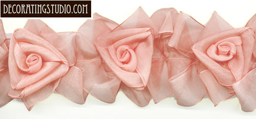 jackie pink organza flower trimming