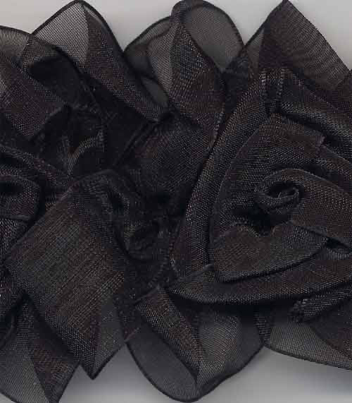 detail of black organza flower trim