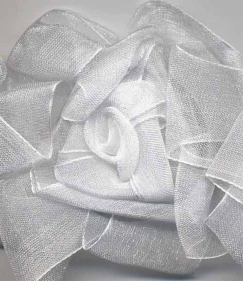 detail of white organza flower trim