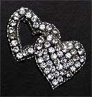 intertwined double heart rhinestone applique