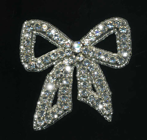 large rhinestone bow applique