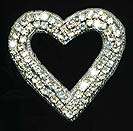 rhinestone open heart applique
