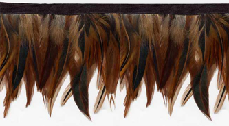 auburn brown feather fringe