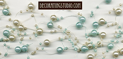 pale aqua and ivory pearl garland decor