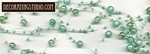 iridescent aqua beaded pearl candle garland