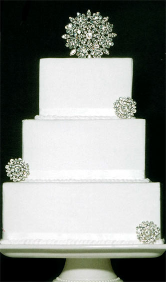 rhinestone medallion wedding cake topper