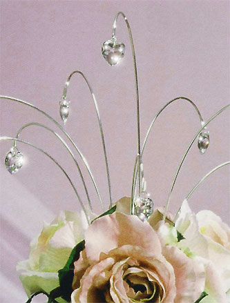 crystal heart wedding cake topper spray