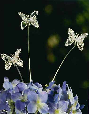 Bel Aire Crystal & Silver Butterflies (Set of 6) Cake Jewelry - Product Image
